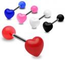Piercing činka srdce černé