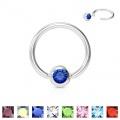 Piercing kroužek s modrým zirkonem