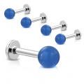 Piercing labret s modrou kuličkou