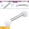 Piercing mini činka bílé kuličky
